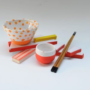 #2 Orange Platform, Yellow Bar, Small Cup, Chopstick Holder, Orange and White Polka Dot Bowl