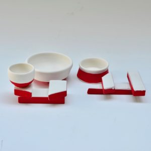 #13 2 Chopstick Holders and 3 Small Bowls