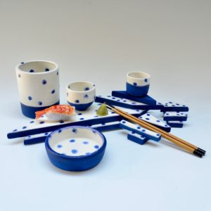 #20 Blue and White Dot Platform, 2 chopstick holders, small and tiny cups, and shallow dish