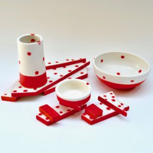#26 Red Polka Dot Platform, Chopstick Holders, Bowls, Chopstick Container